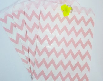 Pack of 12 pink and white chevrons favor bags, birthday party, candy bar, wedding, gift