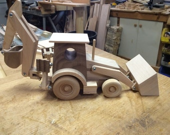Handcrafted Wood Toy Backhoe