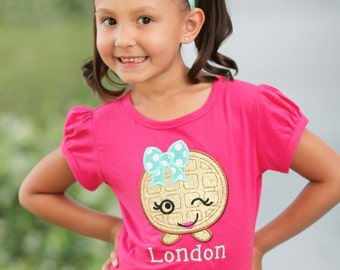 Girl's Cutie Waffle Shirt with Embroidered Name