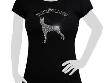 Ladies T-shirt cotton Rhinestones Doberman