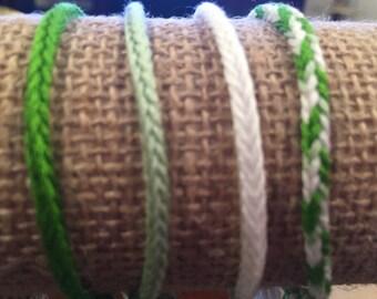 SALE!!!!-St. Patrick's Day-Set of Handmade Frienship Bracelets-Shades of Green