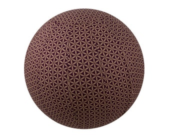65cm Yoga Ball Cover - balance ball cover, exercise ball cover, fitness ball cover, physio ball cover - Plum Flower of Life Print