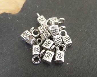 Thai Silver Cube Charm/Pendant - 4mm