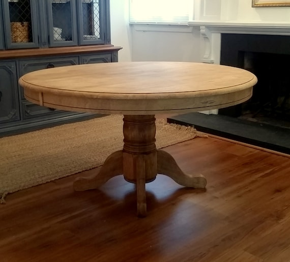 Round Pedestal Dining Table Natural Wood Farmhouse Beach Cottage 54