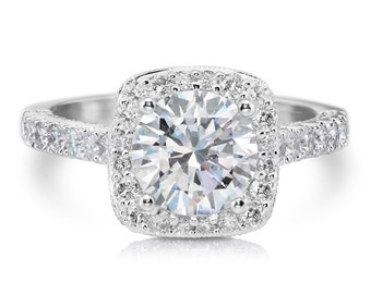Unique Moissanite Halo Engagement Ring 1.90ct Round Forever One Ring .88ct EFVS2 Natural Diamonds White Gold  Wedding Pristine Custom Rings