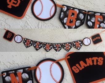 San Francisco Giants Baseball banner, baseball banner, Giants Banner, baseball party decor, baseball birthday banner, Giants Birthday