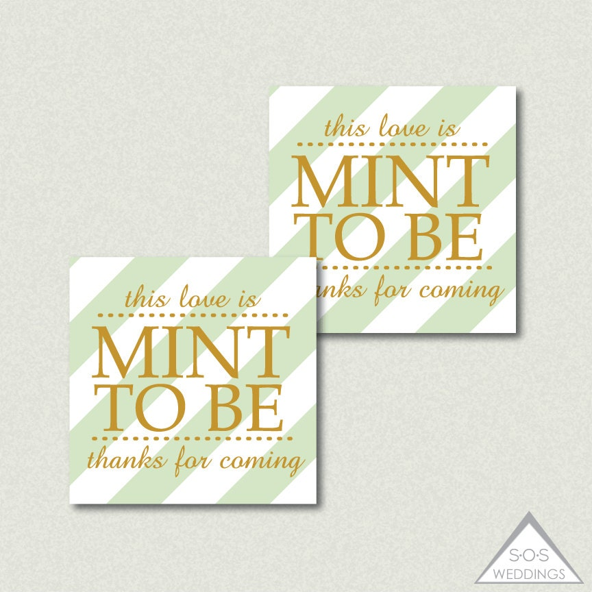 Mint to be Favor Tags Mint Favors Printable Wedding by SOSWeddings