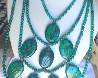 Chrysocolla Beaded Pendant Necklace