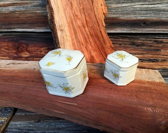 Takahashi,  Porcelain, Trinket Boxes, Vintage ,Flowers,  Set of (2)  Gold Trim,  Home Decor, Ladies accessories Storage Boxes  San Francisco