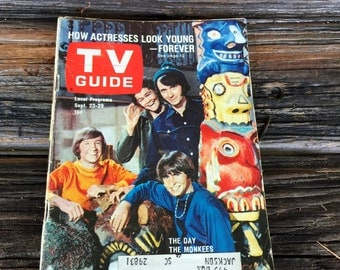 Rare TV Guide 1967 The Monkees Davy Micky Mike  Peter Magazine  Features   Volume 15 N0. 38 Issue #756 Sept 23 issue
