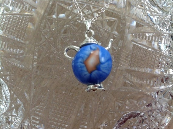 Handmade Silver and Polymer Clay Teapot Charm with Chain