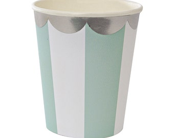 Meri Meri Aqua Stripe Paper Cup (8) Aqua and White Party Cups, Toot Sweet Mint and White Cups with Silver Scallop Border, Aqua Teal Cups
