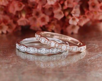 Matching Scalloped Diamond Wedding Ring Vintage Inspired Diamond Anniversary Ring in 14k White, Yellow or Rose Gold Half Eternity Band