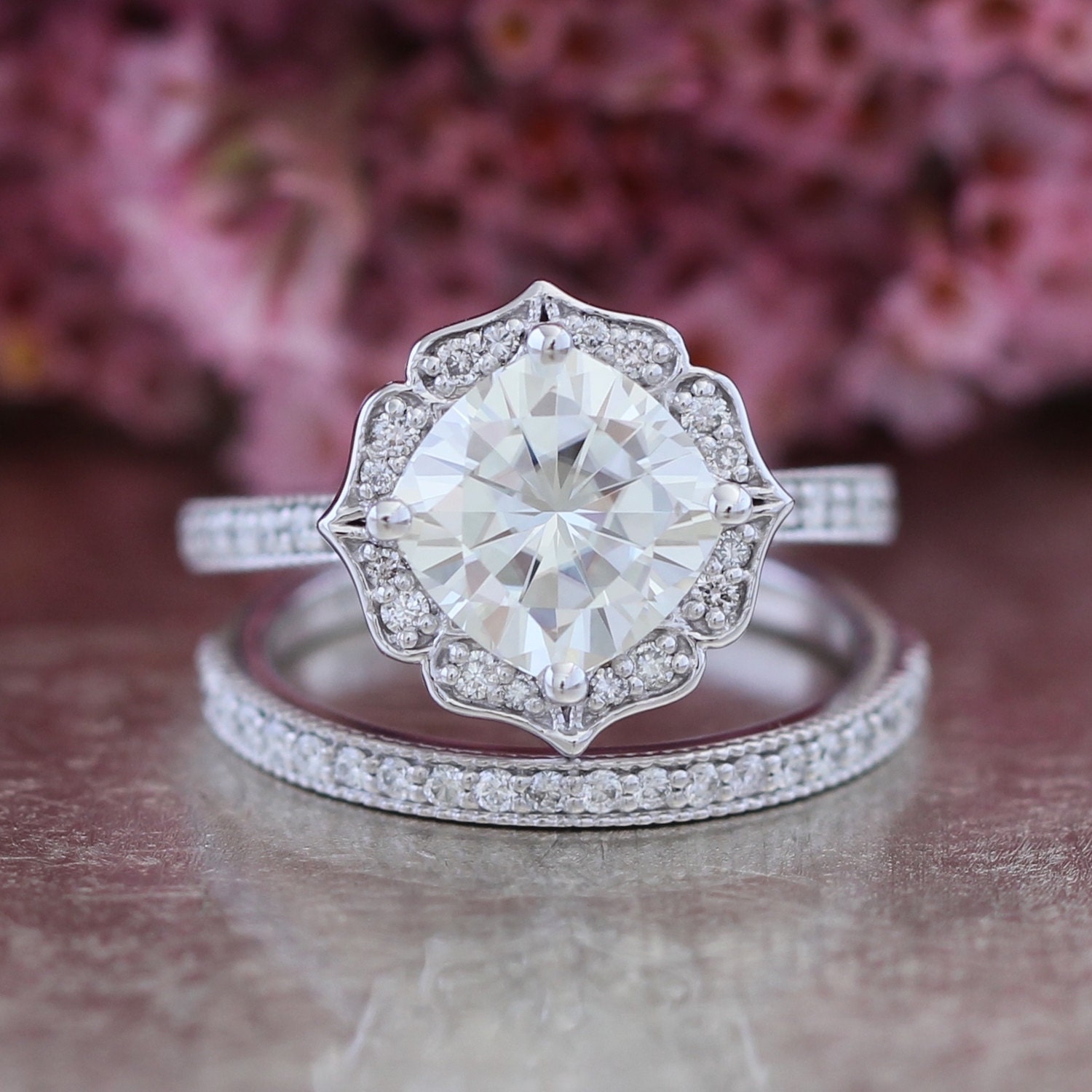 Eternity Ring Wedding Set: Bridal Set Moissanite Floral Engagement Ring And Half Eternity