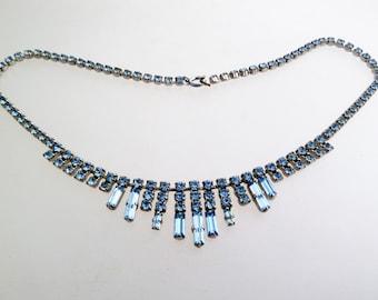 Vintage Pale Blue Rhinestone Fringe Necklace with Baguettes