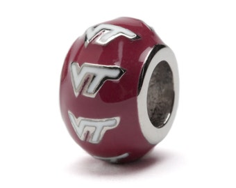 Maroon and White Virginia Tech Bead Charm - Fits Pandora - Stainless Steel