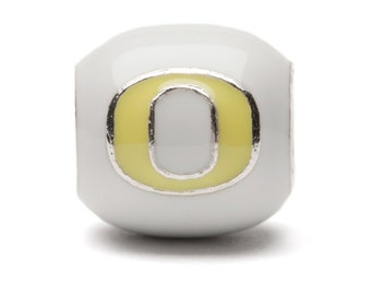 White with Yellow Block O Oregon Bead Charm - Fits Pandora