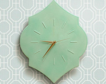 """clock """"SIMPLE"""", wall clock, ceramic wall decoration, mint wall decoration, classic clock, minimalistic decoration,"""