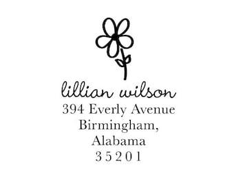 Address Stamp - Flower