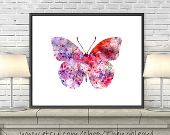 Watercolor butterfly print, pink red watercolor painting, butterfly decor, illustration art, home wall decor - 64A