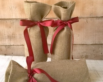 Burlap Wine Bag - Wine Bag - Wedding Wine Bag - Burlap Gift Bag - Wine Bottle Bag - Wine Bottle Cozy - Wine Bottle Holder - Set of 3