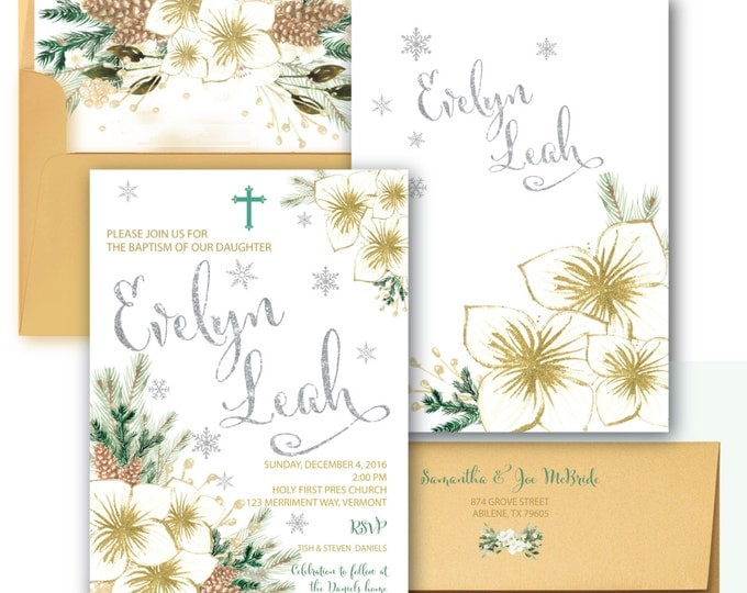 Baptism Invitation // Winter Baptism Invitation // Christmas Baptism Invitation // Snowflakes //Silver// Gold// Glitter //VERMONT COLLECTION