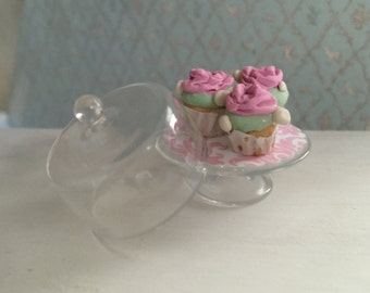 Miniature Shabby Chic Cupcakes with Glass Cake Stand