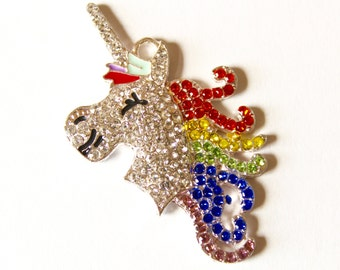 Rainbow Unicorn Rhinestone Pendant