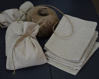 SET 50 Rustic Linen Eco Wedding Favors Bag +FREE Shipping