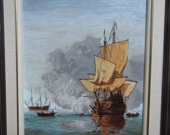 Oil on board after Willien Van De Velde,painted by Herbert Marr, framed