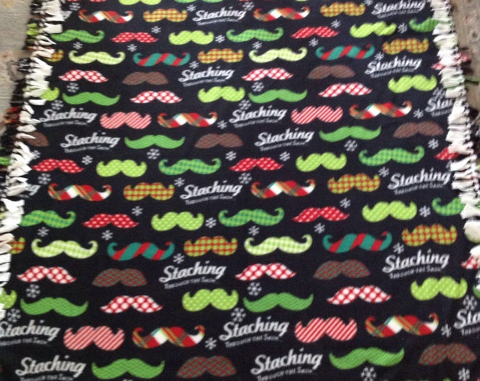"""Mustache Fleece blanket 54"""" x 64""""  for your Barber washable and reversible"""