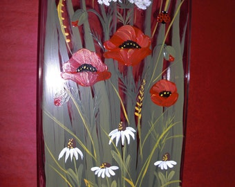 """Hand painted crystal vase with Poppies,Daisies and Queen Anne"""" Lace"""