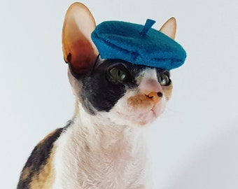 Deep Turquoise Blue Pet sized Beret for cats dogs and more