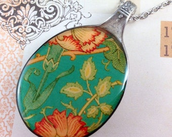Recycled vintage spoon resin pendant necklace, William Morris floral flower print (upcycled, reclaimed, silver, cutlery, antique, women's)