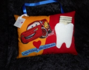 Cars Tooth Fairy Pillow, Lighting McQueen Pillow, Boys Tooth Pillow, Tooth Fairy Pillow