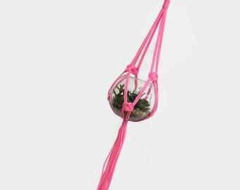Neon Pink Medium/Large Macrame Plant Hanger / Hanging Macrame Planter