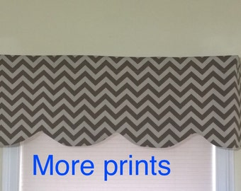 Brown chevron valance, Window valance  Brown, window treatment Brown, Window cornice Brown.