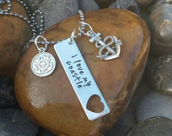 Coast Guard Necklace | I Love My Coastie Necklace | I Love My USCG | Coast Guard Jewelry | Coast Guard Wife Necklace | Coast Guard Wife