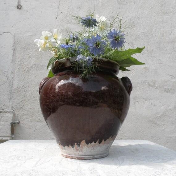 French antique glazed / confit pot, French antique terracota pot, brown dribble glaze, pot a graisse, vintage French pot, country home