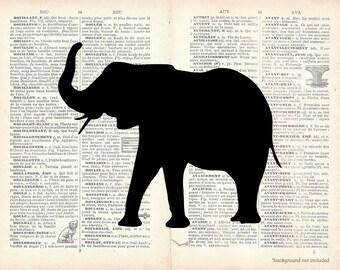 Elephant Clip Art Silhouette - Digital Elephant Image Graphic Vintage Elephant Safari ClipArt Transfer Craft Scrapbook INSTANT DOWNLOAD