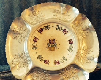 Vintage Farber & Shlevin Aluminum Platter with Porcelain Tulip Pattern Plate