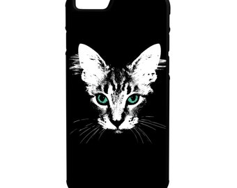 Cat with green eyes iPhone Galaxy Note LG HTC Hybrid Rubber Protective Case