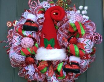 Deluxe Whimsical Santa Hat Christmas Wreath