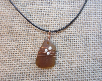 California Beach Glass Necklace with pearls