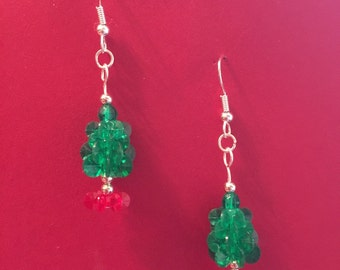 Hand Beaded Christmas Tree Earrings