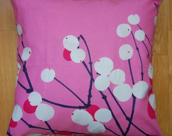 Pink Lumimarja pillow case from Marimekko cotton fabric, from Finland