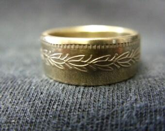 Handmade coin ring - fruit machine token, size K 1/2 (US 5 1/2), (R693)
