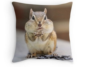Chipmunk Pillow, Funny Cushion, Funny Pillow, Cute Animals, Chipmunk Cushion, Funny Animal, Woodland Animals, Woodland Creatures, Joke Gift