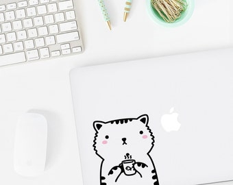 Mini Sisi the Cat Laptop decal / Vinyl Sticker / Tile Decal / Wall Decal / Office decor