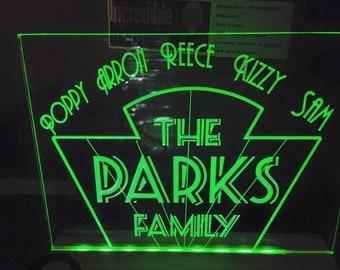 arts deco gatsby style light up family sign illuminated